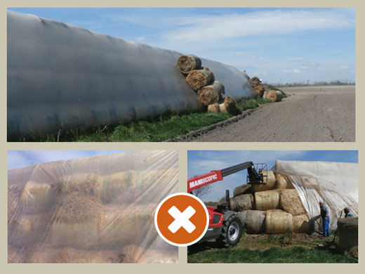 Do not store bales under a clear sheet in hot climates